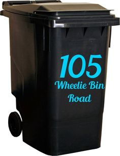 Wheelie Bin Number Self Adhesive Vinyl Sticker AVAILABLE IN 19 COLOURS !!!