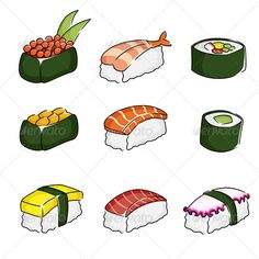 Sushi Icons  #GraphicRiver         A vector illustration of different sushi icons. Vector illustration, zip archive contain eps 10 and high resolution jpeg.                     Created: 27 November 13                    Graphics Files Included:   Vector EPS                   Layered:   No                   Minimum Adobe CS Version:   CS             Tags      asian #clipart #design element #drawing #food #gourmet #icons #illustration #japanese #meal #octopus #raw fish #rice #roe #roll #salmon…