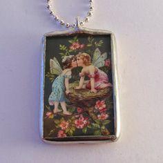 Soldered Glass Vintage Art Necklace Pendant by mysweetseptember