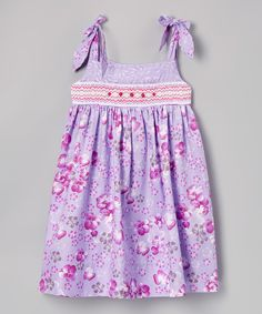 Purple & Pink Floral Smocked Tie-Strap Dress - Toddler & Girls by Rosalina #zulily #zulilyfinds