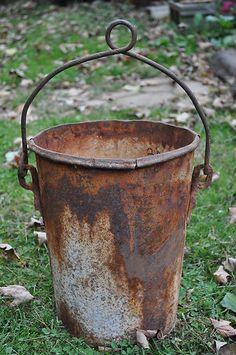 Vintage Estate Find Primitive Rusty Metal Well Bucket Ex Tall Folk Art Decor