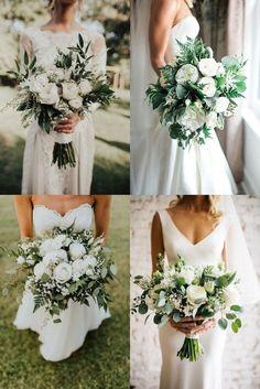 Purple Wedding Flowers, White Wedding Bouquets, Bride Bouquets, Bridal Flowers, Flower Bouquet Wedding, Green Wedding, Floral Wedding, Wedding Colors, Wedding White