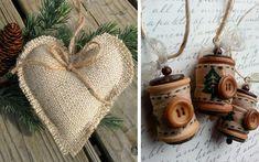 | Adornos de Navidad rústicos para un árbol muy natural