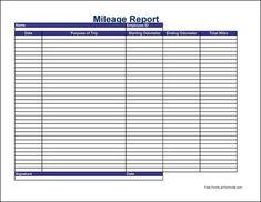 Mileage Log Template   Mileage Log    Logs Template