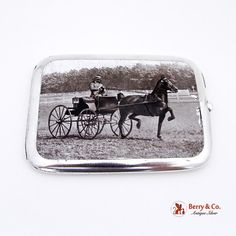 Horse Show Cigarette Case Enamel 1910 Sterling Silver Birmingham Cigar Cases, Horse Carriage, Antique Show, Smoking Accessories, Cigarette Case, Needful Things, Show Horses, Birmingham, Antique Silver