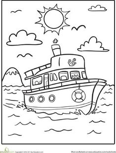 Kindergarten Vehicles Worksheets: Boat Coloring Page Make your world more colorful with free printable coloring pages from italks. Our free coloring pages for adults and kids. Art Drawings For Kids, Drawing For Kids, Easy Drawings, Art For Kids, Coloring Book Pages, Printable Coloring Pages, Coloring Sheets, Coloring Worksheets, Transportation For Kids