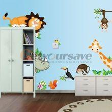 Cartoon muurstickers olifant leeuw aap giraffe voor kinderkamer dier grappige kinderen pvc stickers(China (Mainland))