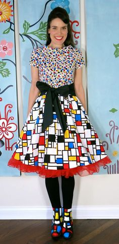Mondrian dress and painted shoes DIY Cassie Stephens