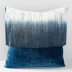 """New Brentwood Home FAUX FUR Gray Brown Ombre Stripe Throw Pillow 20/"""" x 20/"""" Plush"""