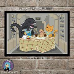 Alien and Jonesy Art Poster - Bella Notte by Beckadoodles on Etsy