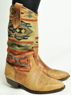 great tan cowboy boots with woven inlay