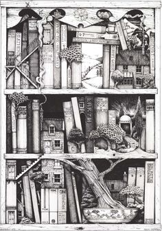 A Bonsai Bookcase illustration (by Colin Thompson) from Prettybooks. Ex Libris, Colouring Pages, Adult Coloring Pages, Coloring Books, I Love Books, Good Books, Puzzle Photo, Art And Illustration, Graphic Illustrations