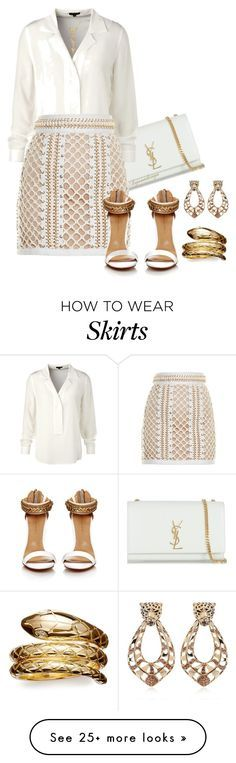 """BALMAIN LACE-UP MINI SKIRT"" by arjanadesign on Polyvore featuring Yves Saint…"