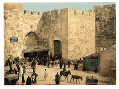 The Jaffa Gate opened to the road to Jaffa, a port through which many pilgrims arrive.