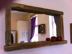 For Thornton Close hallway, 110x80cm? Reclaimed-Wood-Rustic-EBay has lots of similar mirror/shelf combos which are also lovely - this size is perfect Farmhouse-Mirror-with-candle-shelf-Aged-Oak-Colour