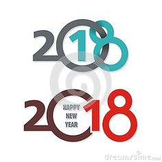 2018 happy new year text / number concept design