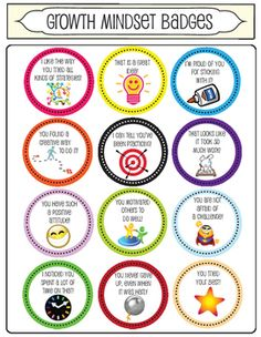 I use these badges with my students to praise them when they display a growth mindset. I give each student a page of the badges and I have them observe their classmates. Then I have designated badge times where Ill give the opportunity for them to give out badges (if you let them give them out whenever they want it becomes a distraction).