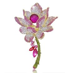 EVER FAITH® Gold-Tone Elegant Lotus Flower Pink Austrian Crystal Brooch *** You can find more details by visiting the image link.