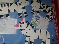 Aren't these zebras the cutest things ever? This is a picture of our venn diagram about giraffes and zebras. Our zebra information chart. Chit-chat Charts from Tuesday and Wednesday.I've received a few questions about how Zoo Crafts, Alphabet Crafts, Preschool Activities, Spring Activities, Animal Crafts, Kids Crafts, Classroom Art Projects, Art Classroom, Classroom Themes
