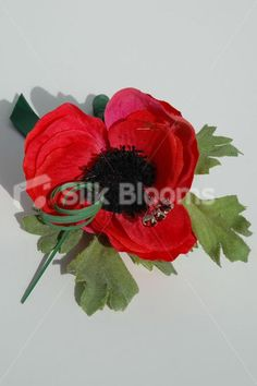 red silk anemone   Red Anemone Poppy Buttonhole with Green Ribbon & Crystals Single Red ...