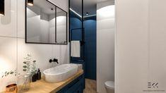 Łazienka z granatowym akcentem Washroom, Bathtub, Home, Standing Bath, Bathtubs, Laundry Room, Bath Tube, Ad Home, Homes