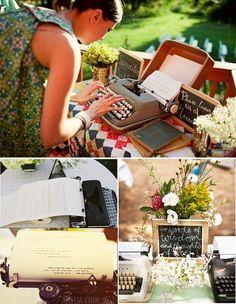 Voici un exemple de livre d'or original pour votre mariage: la machine à écrire. Idéal pour un mariage thème vintage ! Elle vous aidera beaucoup pour eviter le dechiffrage de hieroglyphe de certains de vos invites!