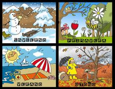 Las estaciones (Asamblea) - The seasons (Circle Time) (Español/Spanish) Preschool Education, Preschool Learning Activities, Preschool Classroom, Painting For Kids, Drawing For Kids, Art For Kids, Preschool Weather Chart, English Creative Writing, Sun Crafts