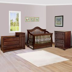 Million Dollar Baby 3 Piece Nursery Set - Ashbury Convertible Crib, Kalani Combo Changer and 4 Drawer Dresser in Espresso
