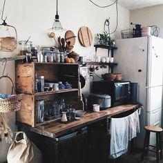 Studio Interior, Kitchen Interior, Interior Styling, Interior Decorating, Rustic Modern Cabin, Japanese Kitchen, Japanese Interior, Cozy Place, Kitchenette