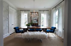 Cole & Son Rajapur Wallpaper, dining room, chandelier, shag bench and those cobalt blue chairs!