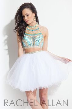 Rachel Allan 3993 2pc Tulle Homecoming Dress- Fun and flirty is this short two piece soft tulle homecoming dress features the popular aztec beading on the bodice.