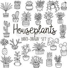 Clipart vectoriel : Dessiné à la Main ligne ensemble de plantes d'intérieur à casseroles