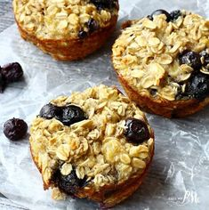 Baked Blueberry Oatmeal Cups Recipe Breakfast and Brunch with mashed banana, old-fashioned oatmeal, eggs, baking powder, vanilla, fresh blueberries