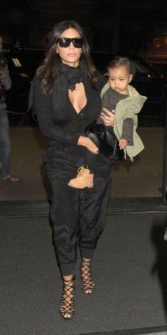 kim kardashian and north at airport
