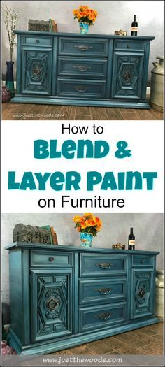 How to Blend & Layer Paint for Amazing Results on your painted furniture projects. Learn the furniture painting technique of blending and layering multiple colors while painting furniture to achieve a gorgeous finish. Layered painting techniques are truly one of a kind. | furniture painting techniques | layered painting technique | how to layer paint on furniture | layer paint | how to blend chalk paint | via @justthewoods