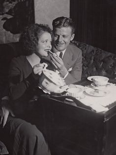 Tea for Two. Clara Bow and Rex Bell, December 11, 1931 First posed pictures of Clara Bow and Rex Bell after their marriage in Nevada.