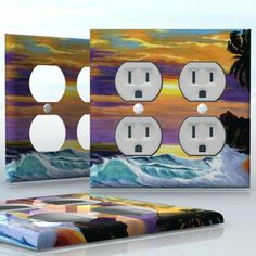 DIY Do It Yourself Home Decor - Easy to apply wall plate wraps | Tropical Wind  Hawaiian landscape with palm tree  wallplate skin sticker for 2 Gang Wall Socket Duplex Receptacle | On SALE now only $4.95