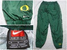 9b730af1fceb3a Vintage Men s 90 s University of Oregon Ducks Nike Pants Green Yellow White  Windbreaker Team White Stripe Nylon Medium