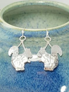 earrings earring earing squirrel sterling silver by