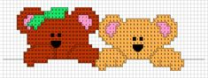 Striscia Orsetti 2 Cross Stitching, Cross Stitch Embroidery, Cute Cross Stitch, Chart Design, Little People, Plastic Canvas, Diy And Crafts, Teddy Bear, Barn