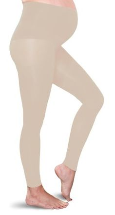 Preggers Maternity Footless Tights 10-15mmHg Gradient Compression Hosiery, Papyrus, Tall