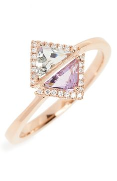 This stunning, delicate ring is made up of diamonds, green prasiolite, and purple amethyst in a unique sculptural setting set in 18-karat gold