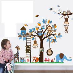 Encontre mais Papéis de parede Informações sobre Removível dos desenhos animados animais do bebê da criança decalques pássaros bonitos da coruja adesivos de parede para quartos dos miúdos Home Decor, de alta qualidade Papéis de parede de Sun Wall Stickers em Aliexpress.com