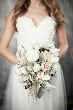 Adore this bouquet. Winter Wedding Inspiration. Photo by Niikole Ramsay Photographer
