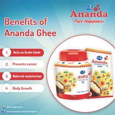 Enjoy the amazing health benefits of Gopaljee Ananda Ghee. Our aim is to keep people healthy & happy. #GheeBenefits #PureHappiness #Ananda
