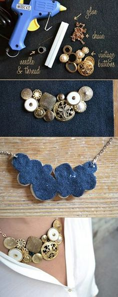 18 Ideas for DIY Fashion Crafts DIY Vintage Button Necklace — tried and fell in love! Button Necklace, Diy Necklace, Necklace Ideas, Collar Necklace, Diy Bracelet, Button Jewellery, Necklace Tutorial, Moon Necklace, Pearl Necklace