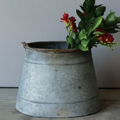 Rustic Tin Bucket   Vintage Style Tin Pail   Tin Pail with Handle