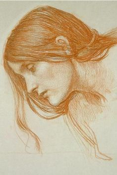 John William Waterhouse, Study of a girl's head, Red chalk on paper, Pre-Raphaelite.
