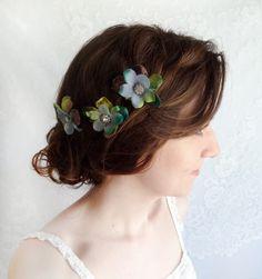 turquoise blue flower hair pins, jade green hair accessories - BEYOND THE SEA - rhinestone, beach wedding. $30.00, via Etsy.