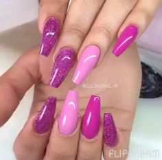 h Purple Nail Art, Purple Nail Designs, Acrylic Nail Designs, Nail Art Designs, Acrylic Nails, Purple Glitter, Matte Nails, Nails Design, Purple And Pink Nails